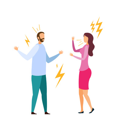 Family Quarrel, Dispute Flat Vector Illustration. Angry Husband and Wife Shouting Cartoon Characters. Arguing Married Couple, Bickering Man and Woman. Spousal Disagreement, Relationship Problem