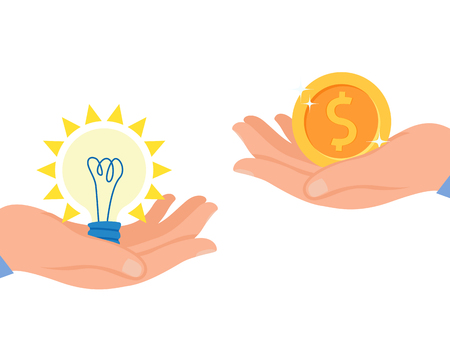 Start up Monetization Flat Vector Illustration. Patent, Intellectual Property Insurance. Copyright Protection Assistance. Author Holding Light Bulb in Hand, Investor Offering Money Vektoros illusztráció