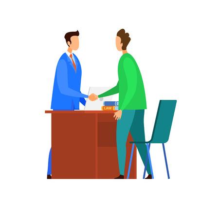 Erfolgreiche Verhandlungen, Vereinbarungsillustration. Unternehmensanwalt und Client-Handshake-flache Vektorzeichen. Cartoon-Berater und Kunde. Berufliche Partnerschaft. Berater, Anwaltskanzlei