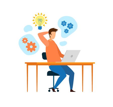 Young Developer, Programmer Working Flat Character. Man Brainstorming, Thinking, Searching Ideas, Solution. Web Designer Using Laptop Vector Illustration. Cartoon Light Bulb, Wheel Gears