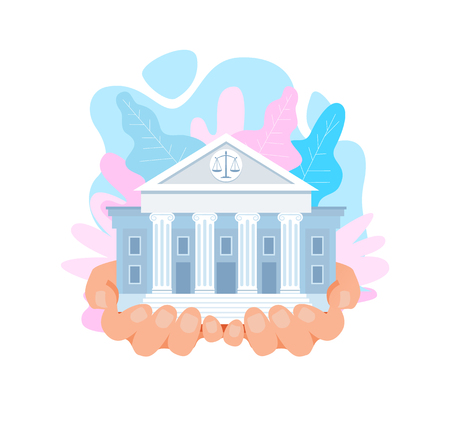 US Supreme Court Building Flat Vector Illustration. Courthouse in Hands. Cartoon Classic Architecture, Columns, Pillars. United States Judicial System, Law And Order. World Famous Landmark