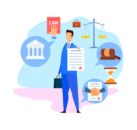 Corporate Lawyer, Advisor Flat Vector Character. Advocate, Consultant Holding Signed Business Agreement, Contract. Law and Justice Symbols. Successful Negotiations Cartoon Illustration Foto de archivo - 122869035