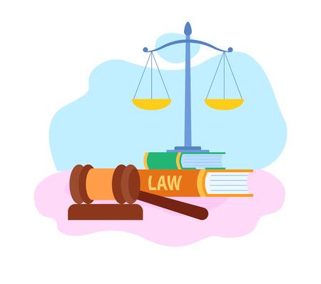 Wet en rechtvaardigheid symbolen platte vectorillustratie. Rechter houten hamer, schalen Cartoon afbeelding. Gerechtelijk systeem. Law School, Faculteit. Burgerrechten. Stapels boeken, studieboeken en rapporten