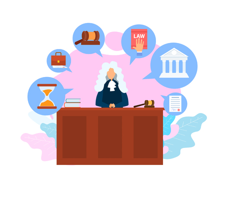 Judge Job, Occupation Flat Vector Illustration. Trial Procedure, Process. Legislative Authority. Cartoon Character With Wooden Gavel in Courtroom. Legal Book, Supreme Court Building, Document Icons Иллюстрация