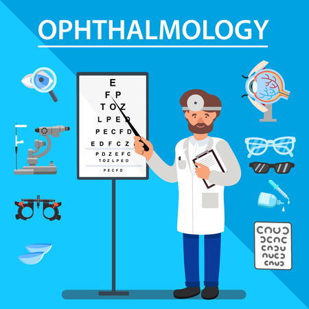 Flat Banner Ophtalmology Vision Testing Methods. Vector Illustration on Blue Background. Doctor is Standing for Eye Examination, Around Subjects Related to Treatment and Prevention Organs Vision.