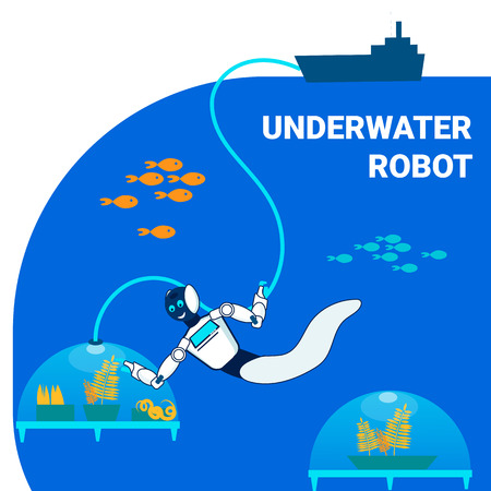 Underwater Robot Researcher Flat Banner Template. Cartoon Cyborg Diving in Ocean Cartoon Character. Futuristic Farm Fields in Sea. Experimental Growing Plants, Crops in Underwater Capsules 矢量图像