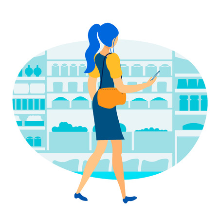 Relaxation in Supermarket Flat Vector Illustration. Young Girl, Student Enjoys Shopping and Talking over Cellphone. Cartoon Woman Buying Food Products in Grocery Store Isolated Character