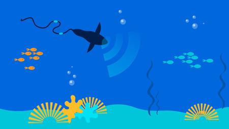 Underwater Communication Tools Flat Illustration. Futuristic Robotic Fish, Shark Transmitting Wifi Signal. Ocean, Sea Bottom Telecommunication Technologies. Hi-tech Bionic Marine Creature