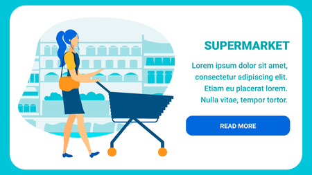 Online Supermarket Flat Landing Page Template. Grocery Store Webpage Layout with Text Space. Female Shopper with Cart, Trolley Cartoon Character. Ecommerce in Food Retailing, Distribution Industry