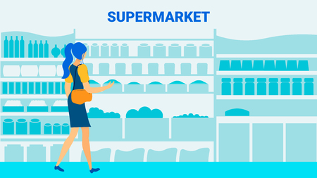 Supermarket Client Flat Vector Banner Template. Cartoon Woman, Girl Choosing Food on Shelves. Grocery Store Assortment Silhouette Illustrations. Fresh Vegetable, Canned Products Purchase Illustration