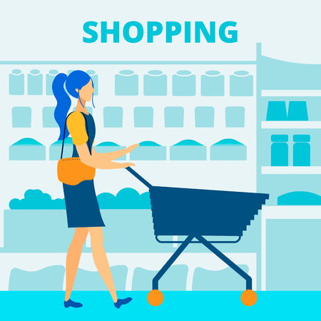 Grocery Store Shopping Flat Vector Banner Template. Supermarket Promo Typography. Girl, Lady, Woman with Shopping Cart, Trolley Cartoon Character. Mother, Wife Choosing Fresh Food for Supper