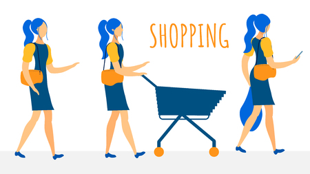 Female Shoppers Flat Vector Characters Collection. Buying Products in Supermarket Stages. Visiting Grocery Store, Choosing Products, Carrying Food Bag Home. Girl, Woman Purchasing Meal Illustration