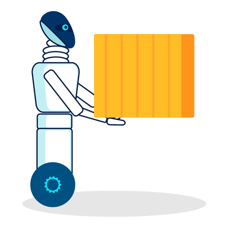 Automated Loading Machine Flat Vector Illustration. Robotic Loader Carrying Box, Container Isolated Character. Moving House Service Humanoid Worker. Futuristic Delivery Boy, Courier