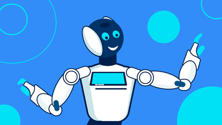 Friendly Robot, Cyborg Flat Vector Illustration. Humanoid Conductor, Orchestra Director Isolated Character. Cartoon Chatbot Waving Hands. Artificial Intelligence in Cultural, Artistic Life Vettoriali
