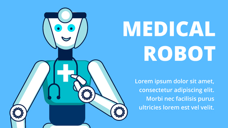 Medical Robot Services Flat Vector Banner Template. Cheerful Robotic Nurse, Cyborg with Stethoscope Cartoon Character. Artificial Intelligence in Medicine Promo Typography with Text Space