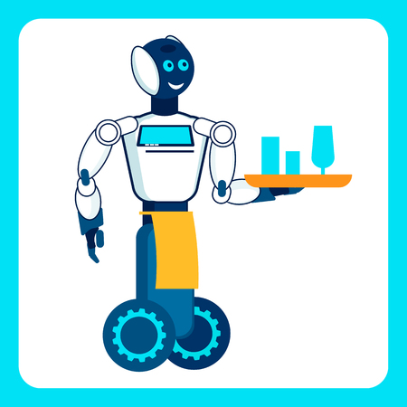 Cyber Waiter Carries Wine Flat Vector Illustration. Robot Holding Glasses on Tray Cartoon Character. Artificial Intelligence in Catering Service. Modern Restaurant, Cafe Staff, Personnel Çizim