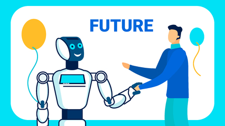 Nearest Future Vision Vector Banner Template. Robots in Human Life Typography. Cartoon Man Greeting Cyborg. Cheerful Humanoid Handshaking with Boy Hand Drawn Characters. Robotic Party