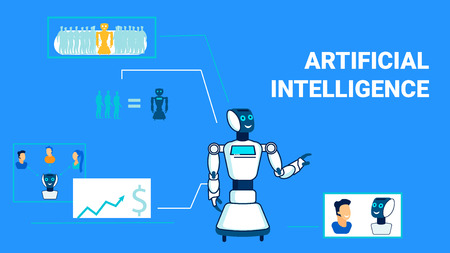 Multipurpose Artificial Intelligence Flat Banner Template. Universal Robots Use Typography. Cyber Chatbot, Electronic Analyst Linear Character. Humanoids Substituting Human Workplace