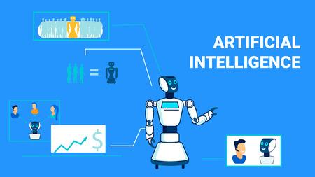 Plantilla de banner plano de inteligencia artificial multipropósito. Los robots universales utilizan la tipografía. Cyber Chatbot, Analista Electrónico Carácter Lineal. Humanoides que sustituyen al lugar de trabajo humano