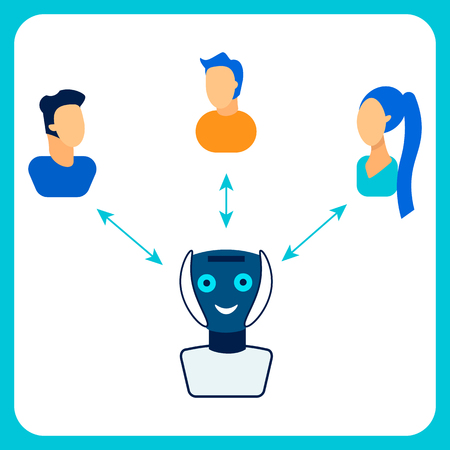 Human, Robot Cooperation Flat Vector Illustration. Cheerful Cyborg Communicating with People, Social Inclusion. Chat Bot Interacting with Users, Profiles. Artificial Intelligence Call Center Worker