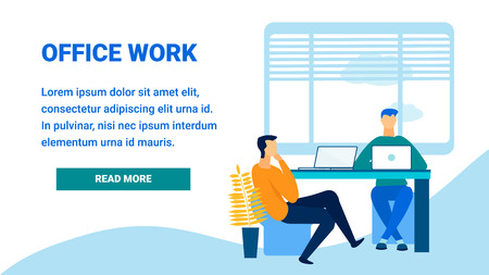 Modern Office Work Flat Landing Page Template. Human Resources Department Webpage Layout. Male Applicant at HR Specialist Interview. Coworking Center Visitors Working at Laptops. Futuristic Workspace