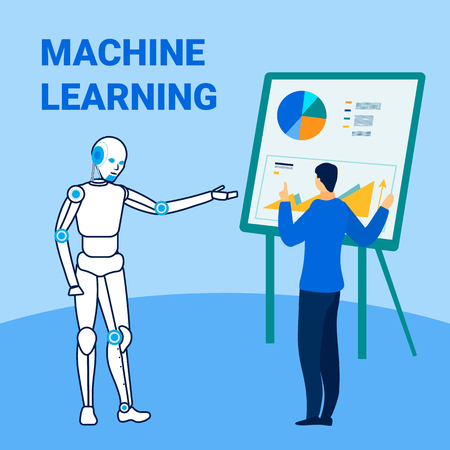Machine Learning Technology Flat Banner Template. Male Expert Consulting Robot Cartoon Characters. Artificial Intelligence Collecting Data, Statistics. Human Teacher, Tutor Interacting with Humanoid
