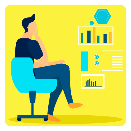 Studying Statistical Data Flat Vector Illustration. Male Expert Making Decision Sitting in Chair. Analyst, Businessman Watching Presentation Cartoon Character. Economist Analysing Growth Rates