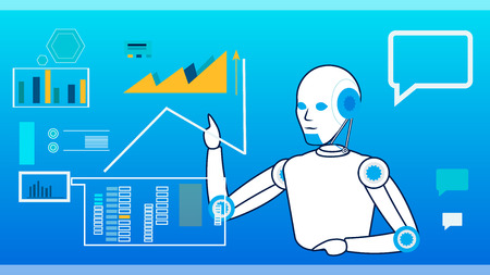 AI Self-Management System Flat Vector Illustration. Cartoon Cyborg Managing Data on Interactive Board, Screen. Robot Sharing Ideas Thin Line Character. Information Processing Cybernetic Machine