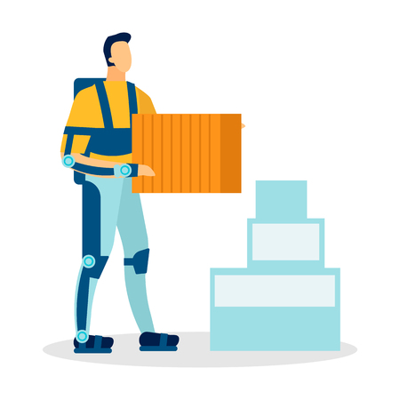 Man Wearing Exoskeleton Flat Vector Illustration. Cartoon Loader, Moving Service Worker, Courier Carrying Boxes Isolated Character. Engineering Innovations, Technology Facilitating Human Labor Çizim