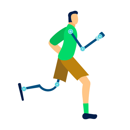 Athlete with Prosthesis Flat Vector Illustration. Cartoon Disabled Individual with Amputated Limbs. Active Amputee Man Training. Soldier, Warrior Post-Injury Rehabilitation, Recovery Exercise