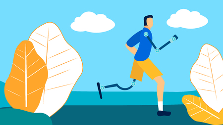 Disabled Athlete Training Flat Vector Illustration. Male Sportsman with Bionic Leg, Arm Prosthesis. Post-Accident, Recovery, Rehabilitation Exercises. Young Amputee Running, Jogging Outdoors Illustration