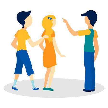 Jongeren vragen manier platte vectorillustratie. Verloren toeristen op zoek naar locatie geïsoleerde karakters. Cartoon Man Met Richting, Wijzend Gebaar. Mannelijke voorbijganger legt uit, geeft informatie