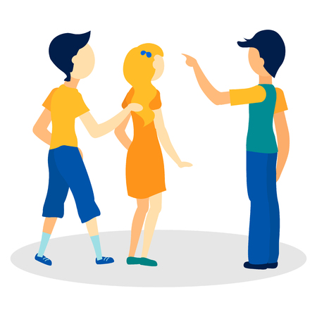 Young People Asking Way Flat Vector Illustration. Lost Tourists Looking for Location Isolated Characters. Cartoon Man Showing Direction, Pointing Gesture. Male Passerby Explaining, Giving Information