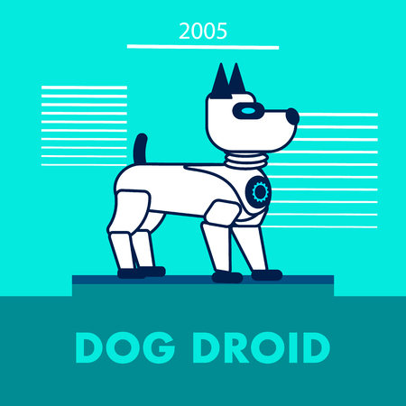 Dog Droid Promotion Flat Vector Banner Template. Artificial Intelligence Toy for Children. Kids Electronic Friend, Pet. Electronic Puppy Contour Illustration. Cute Mechanical Companion for People Illustration