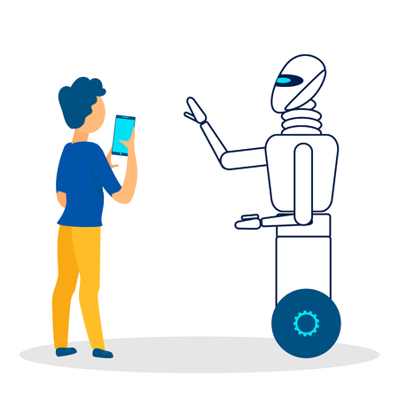 Robotic Guide Helping Man Flat Vector Illustration. Lost Tourist Following Smartphone Map Isolated Character. Artificial Intelligence Serving People. Cartoon Robot, Cyborg Showing Way, Direction Illustration