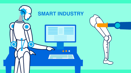 Smart Industry Production Flat Banner Template. Robotic Engineer Managing Assembly Line Cartoon Character. Artificial Intelligence Controlling Automated Arm. Manufacturing Cyborgs, Humanoids