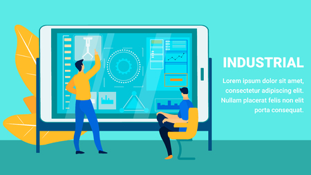 Industrial Production Report Flat Banner Template. Factory Engineer Analysing Smart Industry Efficiency. Cartoon Experts, Analysts Prepare Presentation on Interactive Board. Data Management Typography