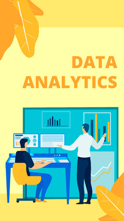 Professional Data Management Flat Poster Template. Company Top Manager Preparing Report, Presentation Cartoon Character. Finance Expert Analysing Market Trends. Assistant Typing on Keyboard
