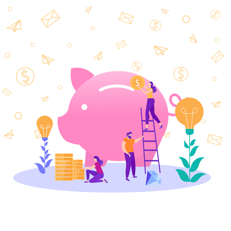 Große Sparschwein-Banker, die sich mit der Arbeit beschäftigen Frau auf Trittleiter legen Münzen Spardose Finanzielle Währungsdienstleistungen Sparen Anhäufen von Geld Geschäftsidee Investition Teamwork Metapher Flache Vektorillustration