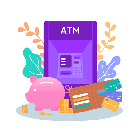Ways of Money and Savings Storage Piggy Bank Wallet Plastic Credit Card ATM Machine for Getting Cash Vector Flat Floral Illustration Banking Financial Operation Management of Investment Banner Standard-Bild - 122832101
