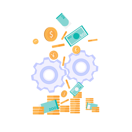 Falling Down Golden Coins Paper Banknotes Nominal Value Cash Stacks Gear Wheels Design Vector Flat Illustration Money Production Investment Metaphor Productive Efficient Financial Strategy Mobile App