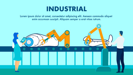 Industrial Robot Production Flat Banner Template. Smart Industry Manufacturing Process. Male, Female Supervisors Monitoring Assembly Line Cartoon Characters. Cyborg Parts on Conveyor Belt Illustration