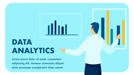 Data Analytics Service Flat Vector Banner Template. Consulting Agency Expert, Analyst Showing Diagrams Cartoon Character. Finance, Banking Audit Typography with Text Space. White Collar Job Çizim