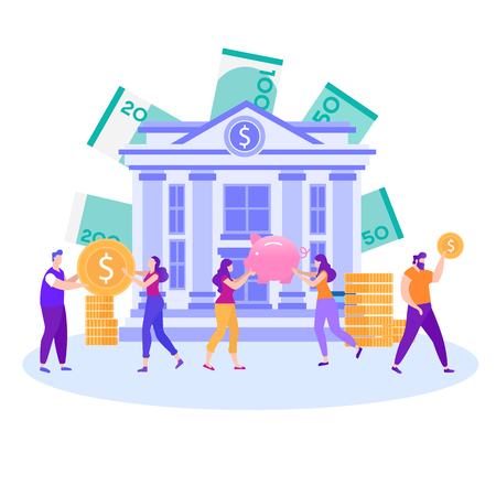 Best Choice Save Accumulate Invest Money Dollars Cash Bank Deposit Promotion Banner People Holding Gold Coins Women with Piggy-Bank Good Financial Services Vector Metaphor Flat Illustration Illustration