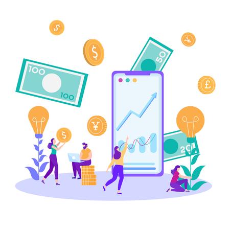 Analitycy finansowi Bankierzy w pracy Kobieta kultywowanie idei Konsultantka bada wykres graficzny Online człowiek giełdowy wpisując Laptop Budżet Ocena Analiza danych Wektor Płaskie Pieniądze Ilustracja
