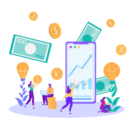 Financial Analysts Bankers at Work Woman Cultivating Idea Female Consultant Examining Graphic Chart Online Man Stock Trader Typing Laptop Budget Assessment Data Analysis Vector Flat Money Illustration Stock Illustratie