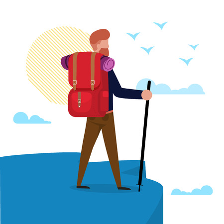Vector Illustration Hiking to Sea or Ocean Flat. Man with Hiker is Standing on Cliff or Mountain Top and Looking into Distance. Guy Carries Camping Equipment Backpack, Cartoon Flat.