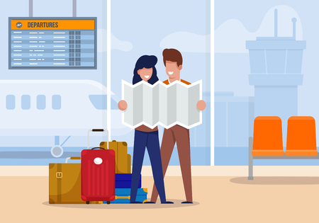 Illustration Tourists Explore Route at Airport. Couple is Standing in Airport Terminal and Looking at Map Area. Man and Woman with Suitcases Came to Rest.  Cartography and Geography.