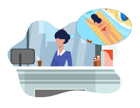 Flat Woman Dreams about Vacation Sitting at Work. Office Employee Tired Work, her thoughts Woman Swimming on Mattress in Pool. Girl Reflects and Represents Upcoming Vacation and Relaxation.