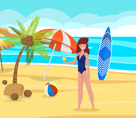 Rest on Beach Under Palm Trees Vector Illustration. Girl in Bathing Suit Drinking Cocktail at Tropical Resort. Ocean Coast, Surfboard, Palm Trees and Coconuts on Sand. Vector Illustration.  イラスト・ベクター素材